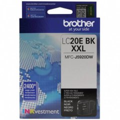 Original Brother LC20EBK Super High Yield Black Ink Cartridges