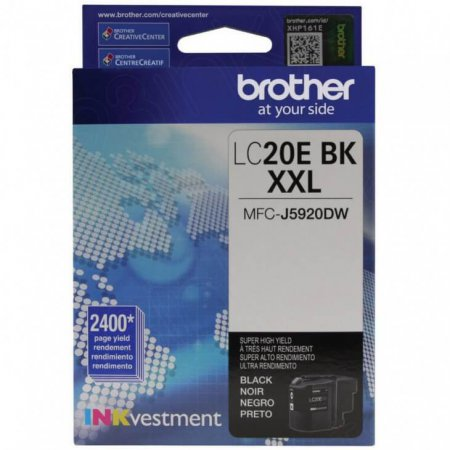 Original Brother LC20EBK Super High Yield Black Ink Cartridges