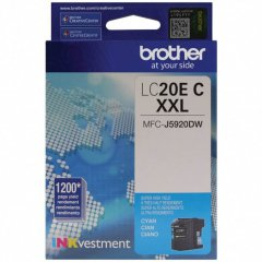 Original Brother LC20EC Super High Yield Cyan Ink Cartridges