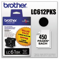 Brother OEM LC612PKS Black Ink Cartridges 2-Pack