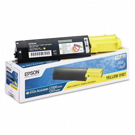 Epson S050187 Yellow Toner Cartridge, Original Epson OEM
