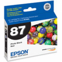 Epson T087120 Ink Cartridge, Photo Black, OEM