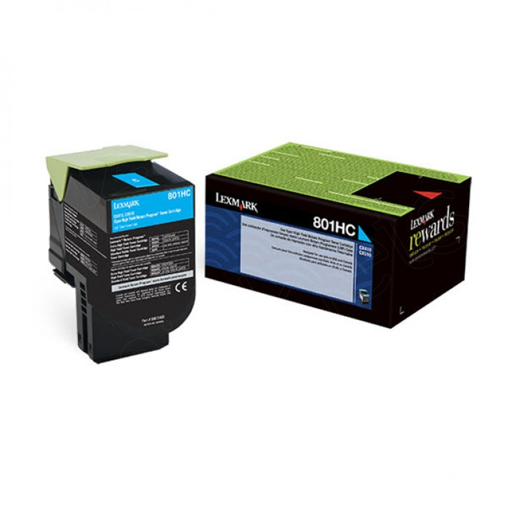Lexmark 80C1HC0 High-Yield Cyan OEM Laser Toner Cartridge