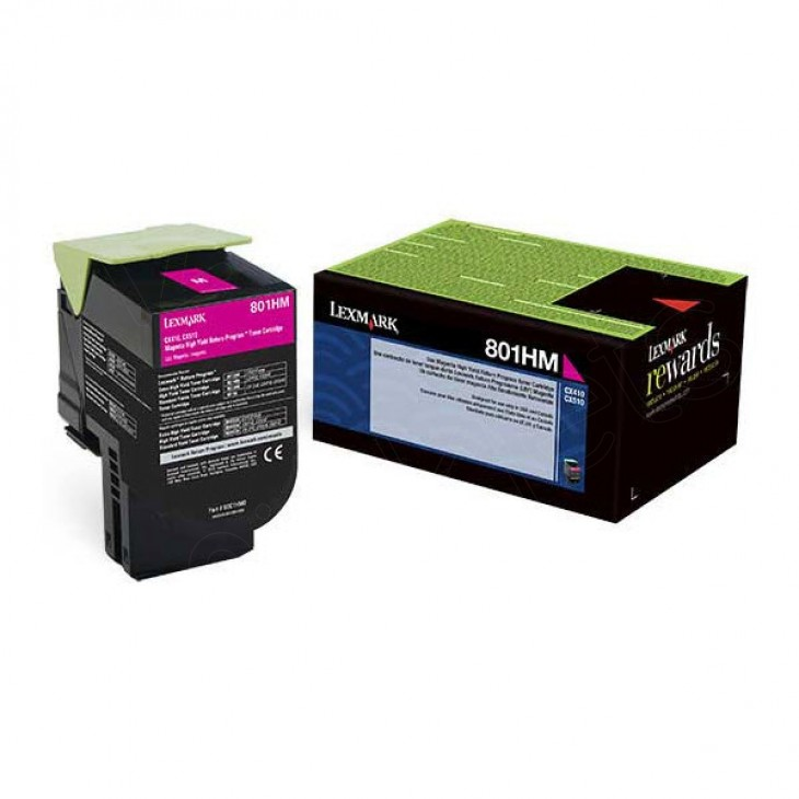 Lexmark 80C1HM0 High-Yield Magenta OEM Toner Cartridge