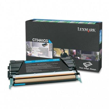 Lexmark C734A1CG Cyan OEM Laser Toner Cartridge