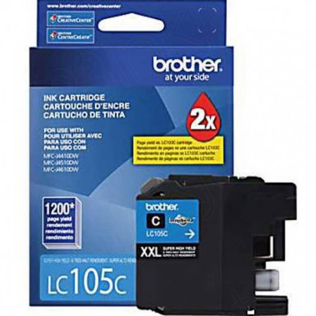 Brother LC105C Ink Cartridge, Super HY Cyan, OEM