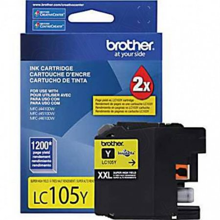 Brother LC105Y Ink Cartridge, Super HY Yellow, OEM