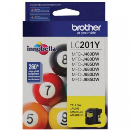Brother LC201Y Ink Cartridge,  Yellow, OEM