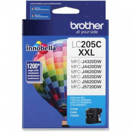 Brother LC205C Ink Cartridge, Super HY Cyan