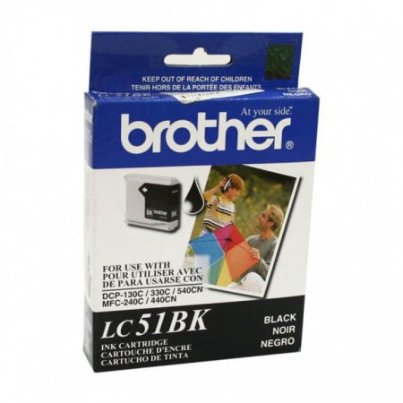 Brother LC51BK (LC51) Ink Cartridge, Black, OEM