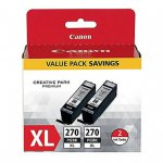 Canon Original PGI-270XL Twin Pack, High-Yield Black Ink