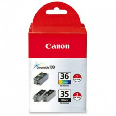 Canon 1509B007 Ink Cartridge Value Pack, 2-Black (PGI-35) & 1-Color (CLI-36), OEM