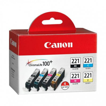 Canon 2946B004 4-Color Multipack CLI-221 Ink Cartridges, OEM