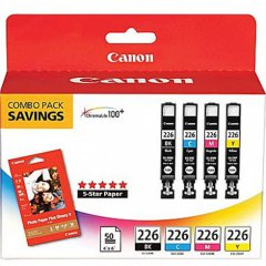 Canon 4546B007 4-Color Multipack CLI-226 Ink Cartridges, OEM