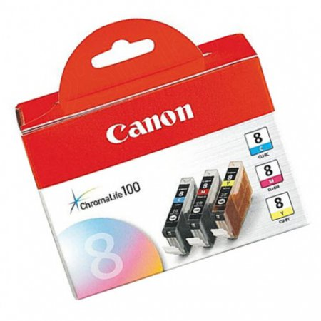 Canon 0621B016 3-Color Multipack CLI-8 Ink Cartridges, OEM