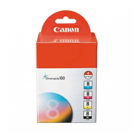 Canon 0620B010 4-Color Multipack CLI-8 Ink Cartridges, OEM