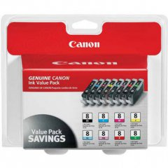Canon 0620B015 8-Color Multipack CLI-8 Ink Cartridges, OEM