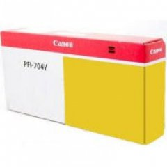 Canon PFI-704Y Ink Cartridge, Yellow, OEM