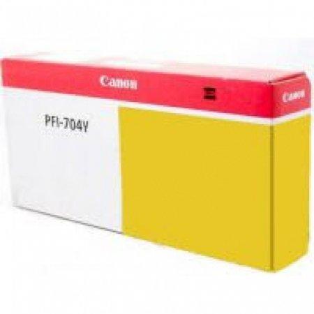 Canon PFI-704Y Ink Cartridge, Yellow, OEM