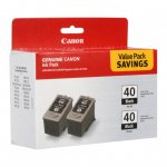Canon 0615B013 Twin Pack PG-40 Ink Cartridges, Black, OEM