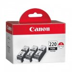 Canon 2945B004 3-Pack PGI-220 Ink Cartridges, Black, OEM