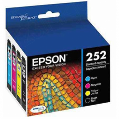 Epson T252120BCS 4-Color Multipack 252 Ink Cartridges, OEM