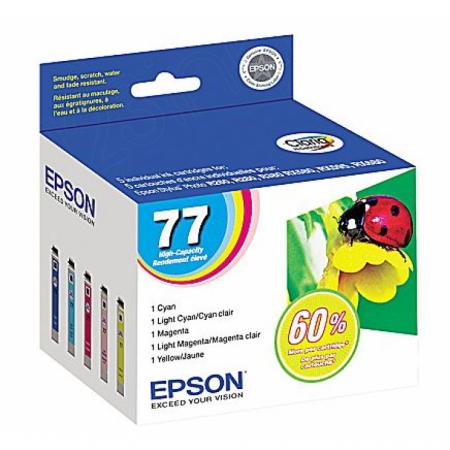 Epson T077920 5-Color Multipack 77 Ink Cartridges, OEM