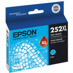 Epson T252XL220 Ink Cartridge, High Yield Cyan, OEM