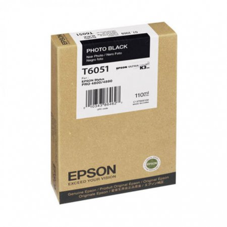 Epson T605100 Ink Cartridge, Photo Black, OEM