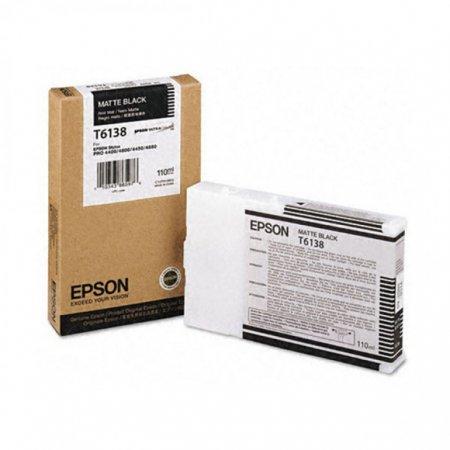 Epson T613800 Ink Cartridge, Matte Black, OEM