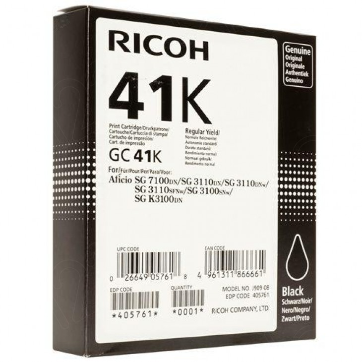 Ricoh 405761 (GC41K) Ink Cartridge, Black, OEM