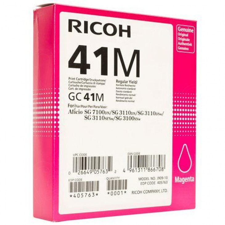 Ricoh 405763 (GC41M) Ink Cartridge, Magenta, OEM
