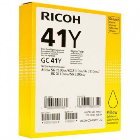 Ricoh 405764 (GC41Y) Ink Cartridge, Yellow, OEM