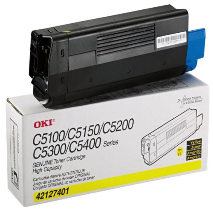 Okidata 42127401 (Type C6) OEM HY Yellow Toner Cartridge