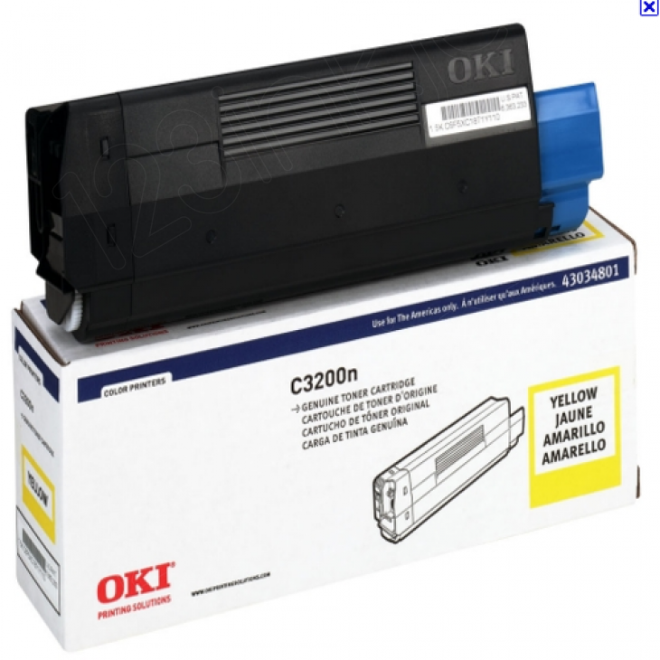 Okidata 43034801 (Type C6) OEM Yellow Laser Toner Cartridge