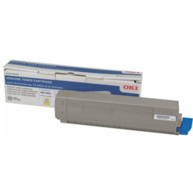 Genuine Okidata C831 Yellow Laser Print Cartridge