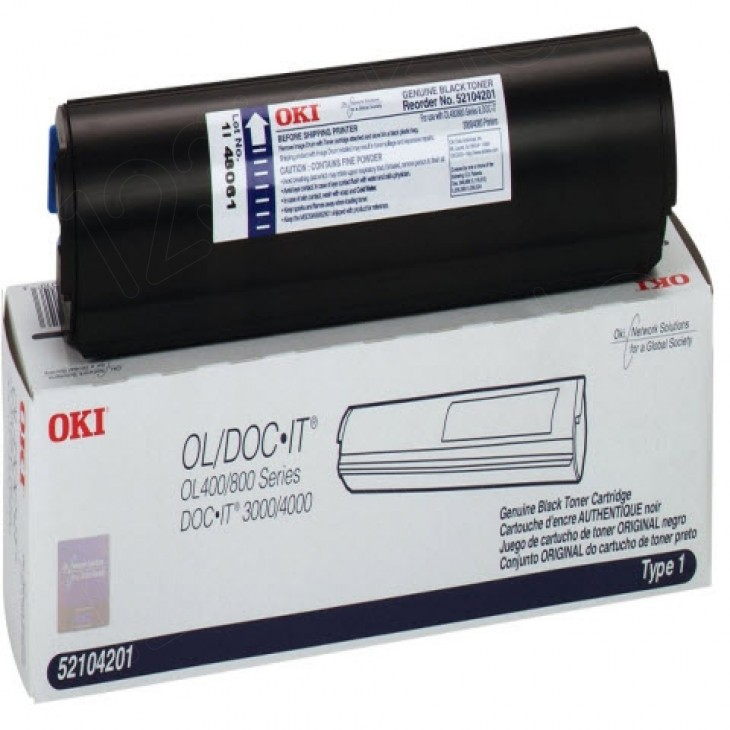 Okidata 52104201 (Type 1) OEM Black Laser Toner Cartridge
