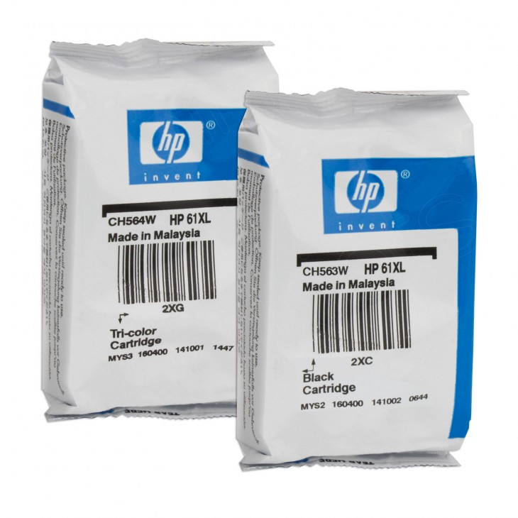 Original HP 61XL Ink Cartridges, High-Yield Black & Color - Not in Box