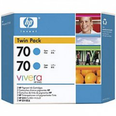 Original CB343A (HP 70) Ink Cartridges, High-Yield Cyan