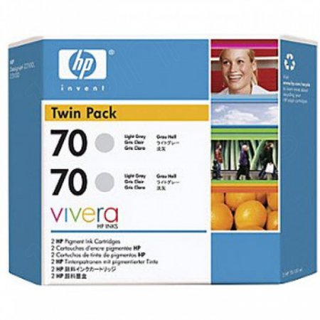 Original CB342A (HP 70) Ink Cartridges, High-Yield Light Gray
