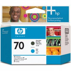 Original C9404A (HP 70) Ink Cartridge Printhead, Matte Black & Cyan
