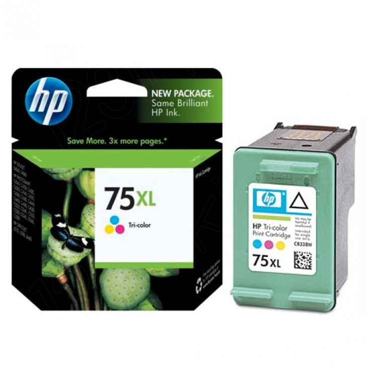 Original CB338WN (HP 75XL) Ink Cartridges, High-Yield Tri-Color