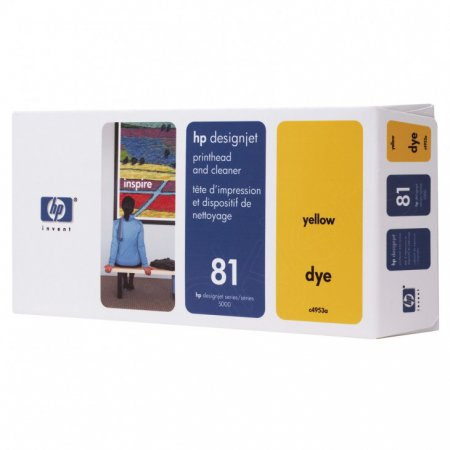 Original C4953A (HP 81) Printhead and Cleaner, Yellow