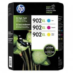 HP 902XL, Hewlett Packard T0A41BN high yield cyan, magenta, yellow original ink cartridges.
