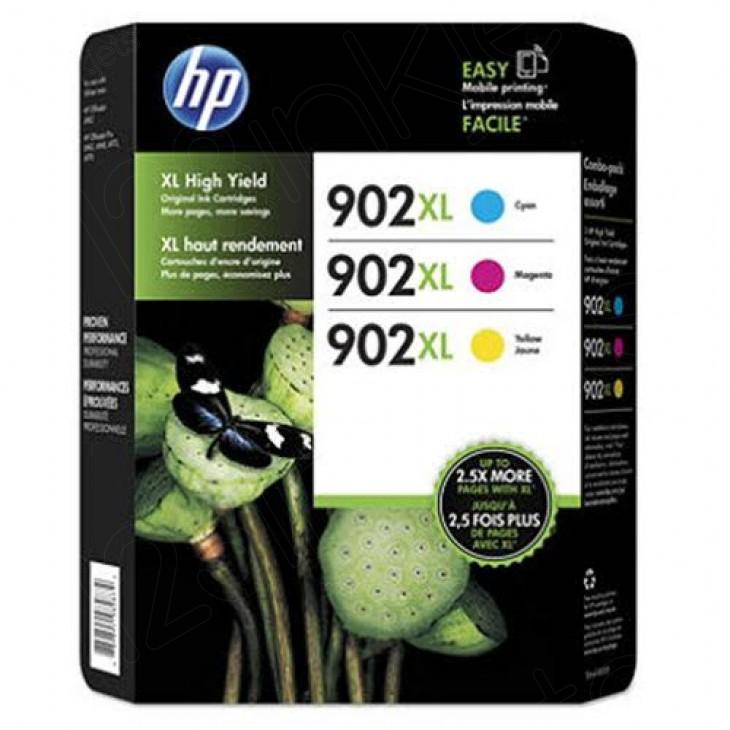 HP 902XL, Hewlett Packard T0A41BN high yield cyan, magenta, yellow original ink cartridges.