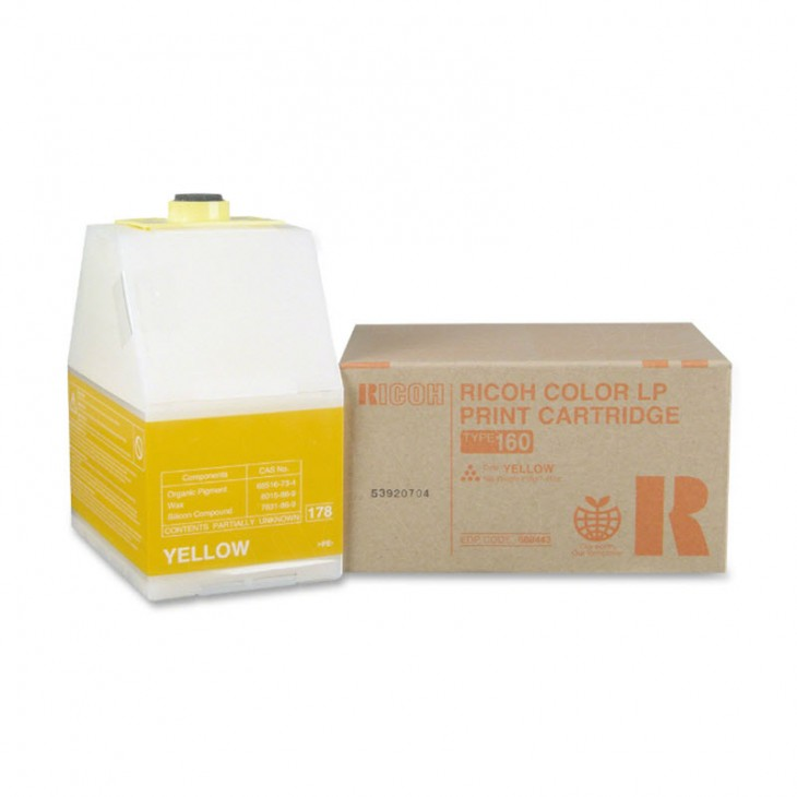Ricoh 888443 (Type 160) Yellow OEM Laser Toner Cartridge