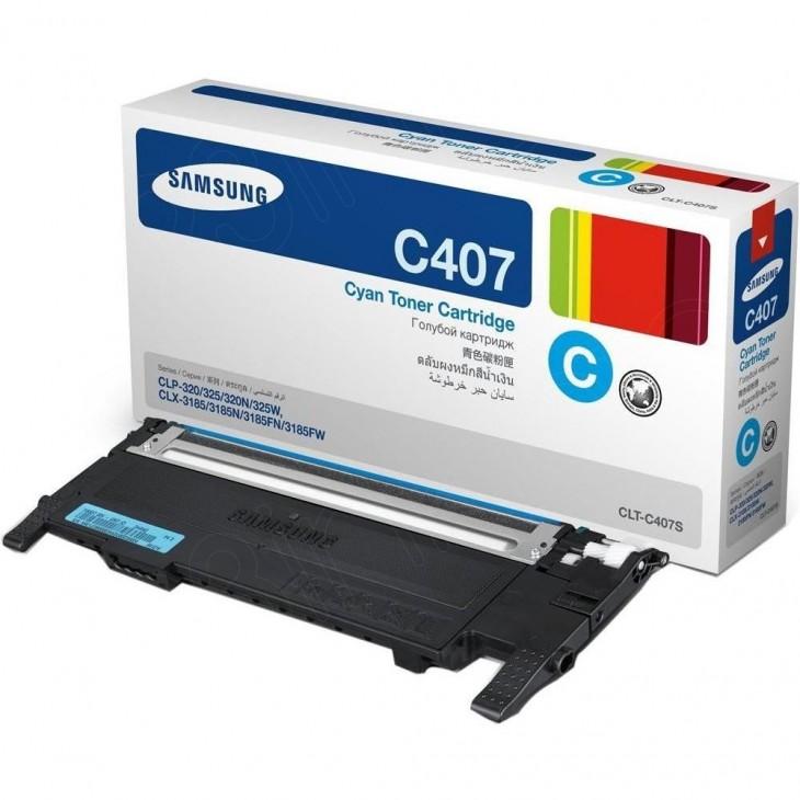 Samsung CLT-C407S Cyan OEM Laser Toner Cartridge